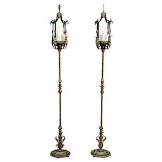 Pair of Antique Wrought Iron Hand Painted Floor Lamp Torchiere Lanterns #33130
