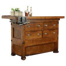 Carpenter Maple Workbench, Wine & Cheese Table, Kitchen Island Counter #33158