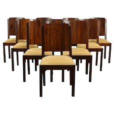 Set of 10 Italian Art Deco Dining Chairs, Mahogany, Faux Suede #33166