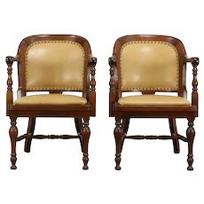 Pair of Antique Walnut Banker Chairs, New Leather, Becker #33191