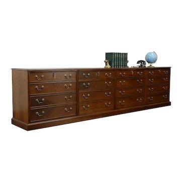 Traditional 10' Vintage Mahogany Credenza Lateral File Cabinet, Coakley #33205