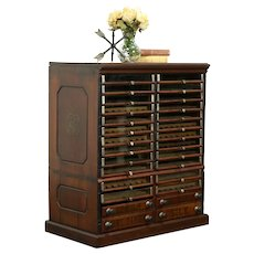 Victorian Antique Belding Walnut 28 Drawer Spool Cabinet, Jewelry Ches #33218
