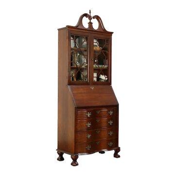 Traditional Vintage Secretary Desk & Bookcase, Claw Feet #33220