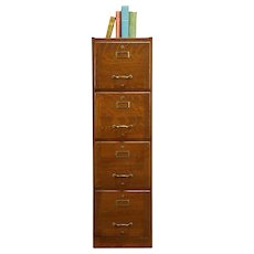 Oak Antique 4 Drawer LIbrary or Office File Cabinet, Weis #33228