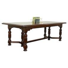 Tudor Design Antique Walnut Library, Dining or Conference Table, Desk #33234