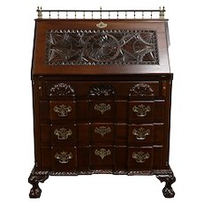 Victorian Carved Mahogany Secretary Desk, Claw Feet, Block Front #33247