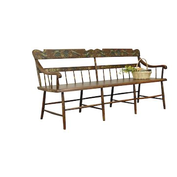 Deacon, Barber Shop or Hall Bench, 1840 Antique, Painted Birds, Ohio #33253