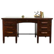 Craftsman Oak Quarter Sawn Antique Desk, File Drawer, Brass Feet #33274