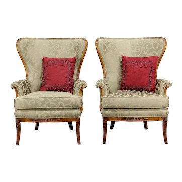Traditional Wing Back Vintage Pair of Chairs, New Upholstery #33293