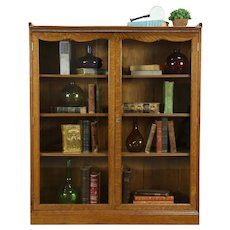 Victorian Antique Carved Oak Library Bookcase, Adjustable Shelves #33300