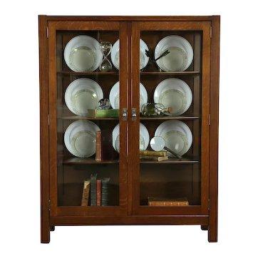 Arts & Crafts Mission Oak Antique China Cabinet or Craftsman Bookcase  #33307