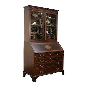 Victorian Antique English Mahogany Inlaid Secretary Desk & Bookcase #33310