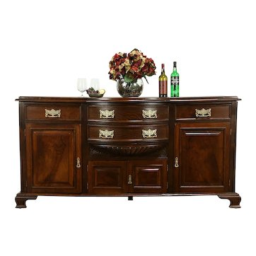 Victorian Antique English Oak Curved Front Sideboard, Server, Buffet #33312
