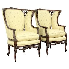 Pair of Vintage Regency Carved Wing Chairs, New Upholstery #33379