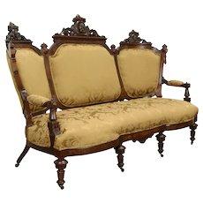 Victorian Renaissance Antique Carved Walnut Sofa, New Upholstery, Jelliff #33380