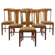 Set of 6 Antique Craftsman Oak Dining Chairs, New Upholstery, Brown #33381