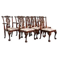 Set of 8 Georgian Chippendale Style Carved Mahogany Dining Chairs #33398
