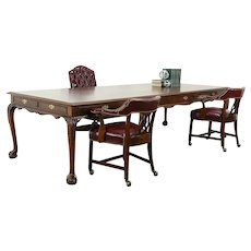 Georgian Design Vintage Mahogany 10' Library, Conference or Dining Table #33408