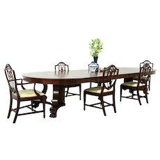 Round 5' Mahogany Antique Dining Table, Paw Feet, Extends 13' #33417