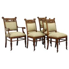 Victorian Antique Set of 6 Carved Oak Dining Chairs, Recent Uphostery #33517