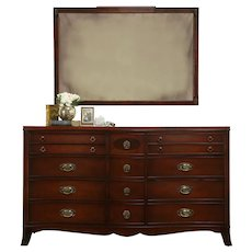 Traditional Mahogany Serpentine 14 Drawer Dresser or Chest, Mirror, White #33565