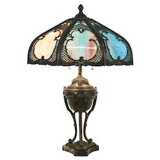 Blue Stained Glass Shade Antique Lamp, Marble & Painted French Base #33607