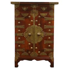 Chinese Mahogany Antique Dowry Cabinet, Engraved Brass Hardware #33652