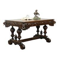 Renaissance Antique Oak Library Table Desk Carved Lion Heads #33739