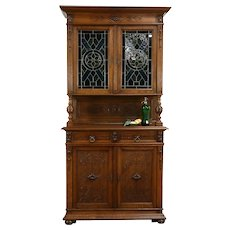 French Antique Carved Oak Sideboard, Bar or Server Cabinet, Stained Glass #33740