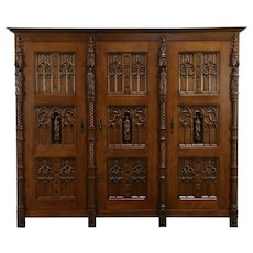 Gothic Design Scandinavian Vintage Carved Oak China or Linen Cabinet #33746