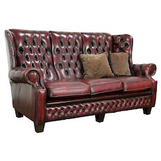 English Vintage Chesterfield Tufted Leather Sofa, Brass Nail Head Trim #33752