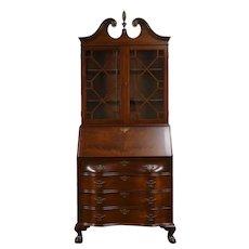 Traditional Georgian Vintage Mahogany Secretary Desk & Bookcase Scandia #33773