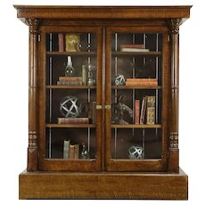 Victorian Antique Bookcase, Grain Painted Finish, Wavy Glass Doors #33776