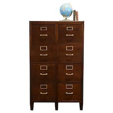 Walnut Antique 8 Drawer Double File Cabinet Yawman & Erbe #33815