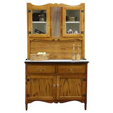 Oak Antique Hoosier Cabinet Kitchen Pantry Cupboard, Little Potts #33850
