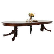 "Empire Antique 54"" Round Mahogany Dining Table, Extends 11 1/2,' Paw Feet #33855"