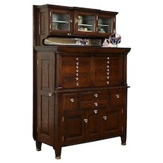 Oak Dentist 1900 Antique Dental, Jewelry or Collector Cabinet, American #33944