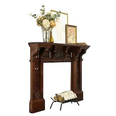 Victorian Eastlake Antique Cherry Architectural Salvage Fireplace Mantel  #33946