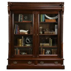 Victorian Eastlake Antique Carved Walnut & Cherry Library Bookcase #33948
