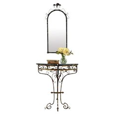 Iron & Marble Hand Painted Antique Hall Console Table & Mirror Set #33973