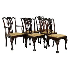 Set of 6 (5+1) Georgian Chippendale Vintage Dining Chairs, New Upholstery #33974