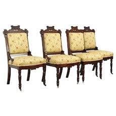 Set of 4 Victorian Eastlake Walnut Dining or Game Chairs #34025