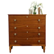 Sheraton Antique 1825 Cherry Chest or Dresser #34026