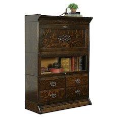 Oak Quarter Sawn Antique Stacking Lawyer Office Bookcase & Desk, GRM #34034