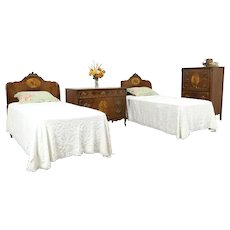 French Style Vintage Carved Bedroom Set, 2 Twin Beds, Dresser,Tall Chest #34039