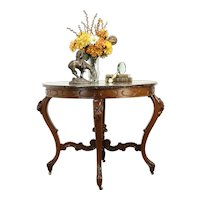 Victorian Pietra Dura Inlaid Marble Antique Table, Carved Walnut #34043