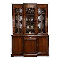 Traditional Mahogany Vintage Breakfront China Cabinet or Bookcase #34052