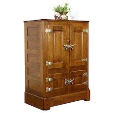Oak Antique Farmhouse Kitchen Pantry Ice Box Refrigerator, Gibson #34067