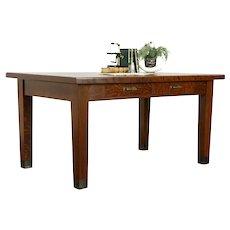 Craftsman Antique Quarter Sawn Oak Arts & Crafts Library Table or Desk #34086