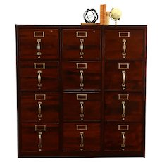 Triple Office or Library 12 Drawer Antique File Cabinet #34109